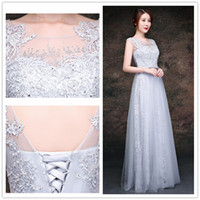 Wholesale Caught Up Wedding Dresses - 2017 Eye Catching Light Gray Wedding Dresses Sheer with Floral Applique Beads Sequins Lace-up Back Floor Length Lace Wedding Gowns