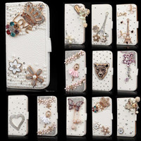 elmas cüzdan galaksisi toptan satış-IPhone XS XR MAX 8 7 6 6 S için Bling durumda Samsung Galaxy Note 9 8 S9 S8 artı Kristal Deri Çevirme 3D Rhinestone Elmas Standı Cüzdan Kılıf