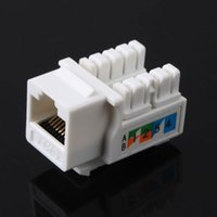 Wholesale Wholesale Network Jacks - CAT6 RJ45 110 Punch Down Keystone Network Ethernet Jack Stand Ethernet Module Internet In-line Cable Adapter Coupler White