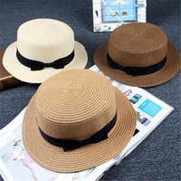Wholesale Womens Foldable Sun Hats - 9 Color Fashion Womens Foldable Bucket Hat Summer Sun Beach Straw Hats with Bowtie Church Hat Korea Accessories Wide Brim Hats