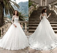 Wholesale corset sheer back wedding dress resale online - Elegant Sheer Long Sleeve Wedding Dresses Full Lace Sheer Crew Neck Corset Back Bridal Gowns Lace Appliqued Beach Wedding Gowns