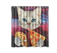 Wholesale Custom Pizza - Customs 36 48 60 66 72 80 (W) x 72 (H) Inch Shower Curtain Eating Pizza Space Cat Polyester Fabric Shower Curtain