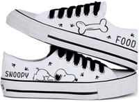 zapatos de lona de boca baja y baja al por mayor-2016 venta caliente del verano de las mujeres zapatos casuales snoopy rascal conejo zapatos pintados a mano lienzos boca baja baja negro cordones zapatos de lona femeninos