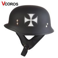 Wholesale Xxl Helmet German - vcoros T75 German military vintage motorcycle helmet harley half face cruise motorbike helmet retro moto helmet size M L XL XXL