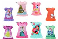 Wholesale Dress Denim Minnie - summer girls dresses Elsa Anna Sofia Snow White Minnie Cartoon kids pajamas polyester nightgowns sleepwear clothes
