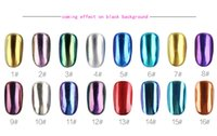 Wholesale Metallic Glitter Nail Polish - 2017 Newest Mirror Chrome Refective Nail Powder Metallic Nail Polish Effect Glitter Shinning Pigment with Brush Tools Nail Art 16 colors