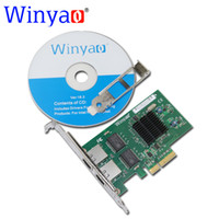 Wholesale Dual Port Network Card - Wholesale- Winyao WY576T PCIe X4 Dual Port Server Adapter Copper RJ45 Gigabit 1000Mbps Ethernet Network Card For Intel 82576 E1G42ET lan