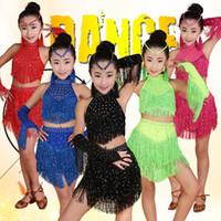 Wholesale Latin Outfits - 5 colors Tassels Girls Professional latin Dance dress Kids Salsa Performance Costumes competition skating Dancewear dresses Outfits