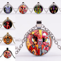 Wholesale night chain - Five Nights at Freddy's Necklace Group Freddy Fazbear Foxy Glass Cabochon Necklaces Pendant for Women Children Jewelry Silver Bronze 162070