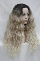 Wholesale Good Synthetic Lace Front Wigs - Hivision hot quality good synthetic black root to blonde ombre Lace Front wig long Wavy wigs