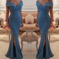nachtkleider kleidet meerjungfrau großhandel-Neueste V-Ausschnitt Mermaid Prom Kleider Button Style Night Gown Neue Ankunft nach Maß Party Kleider Abend Prom Kleider Side Split