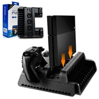 Wholesale Cooling Dock Fan - Multifunction Vertical Stand for Sony PS4 Pro Slim Dual Controller Charging Station Dock Cooling Fan with Game Storage Slots