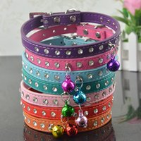 Wholesale Dog Collars Leashes Rhinestones - (50 Pieces lot) Brand New Arrival Pu Leather Dog Collar Rhinestone Pet Collar Leashes With Bell