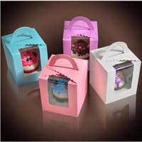 ingrosso scatole di imballaggio del bigné-Cupcake 9,5 * 9,5 * 11 cm Scatola di caramelle classica rosa bianco viola verde confezione singola confezione cupcake con base interna