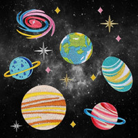 545308 outer space fabric - Iron On Patches DIY Embroidered Patch sticker For Clothing clothes Fabric Badges Sewing earth solar system Outer space design
