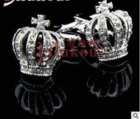 Wholesale Silver Diamond Cufflinks - NEW good quality crown austria diamond cuff links shirts business suit men and women cufflinks French metal cuffs links two colors