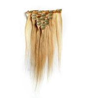 ingrosso vendita dei capelli umani biondi-Vendita calda malese capelli lisci clip a testa piena nelle estensioni dei capelli umani 100g # 613 candeggina bionda remy clip dei capelli umani nelle estensioni