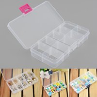 2Pcs Plastic 10 Slots Compartiment Bijoux réglables Collier Clear Storage Box Case Holder Craft Organizer Hot