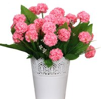 Wholesale silk hydrangea stems wholesale - 5pcs Artificial 8 Head Hydrangea Silk Flower Leaf Stem For Wedding Bridal Bouquet Home Office Decoration