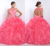 Wholesale Winter Girl Cute Images - Girls Dresses Pipings Ball Gown Cute Rhinestones Sparked Elegant Cheap Quinceanera Dresses Open Back Sexy Iullsion Sleeveless Crystals