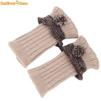 Wholesale Knitted Ball Covering - Wholesale- Newly Design Women Casual Knitted Ruffle Leg Warmers Warm Boot Leg Cover Trim Socks with Small Ball 160929