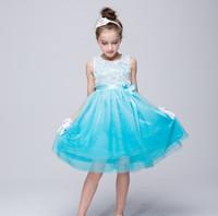 güzel prenses çiçek kız elbiseleri toptan satış-2017 yeni varış 4 renk sıcak satış 3d stereo çiçek prenses kız dress güzel prenses kız dress grenadine elbiseler