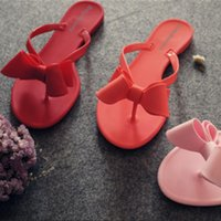 Wholesale European Fashion Heels - Free shipping 2017 summer new bow sandals and slippers flip sandals European and American women solid color sandals jelly shoes
