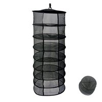 Wholesale vinyl clothes - 2-Feet 8-Layer Black Easy Dry Rack Net for plants Collapsible Mesh Hydroponic Drying Dry Rack Net