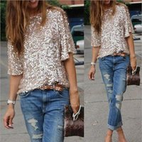 Wholesale ladies sequin tank tops - Wholesale- New 2016 Top Lady Tank Womens 3 4 Sleeve Sequin Coctail Party Glitter Sparkle One Shoulder Tops