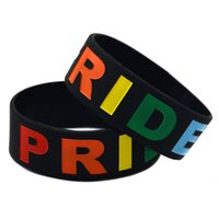 Wholesale coloured wristbands - 50PCS Lot Gay Pride Wristband 1 Inch Wide Silicone Bracelet Fill in Rainbow Colour Bangle Adult Size