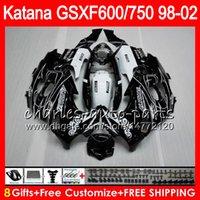 Wholesale Suzuki 99 - 8 Gifts For gloss black SUZUKI KATANA GSXF600 GSXF750 98 99 00 01 02 7HM17 GSX750F GSX600F GSXF 750 600 1998 1999 2000 2001 2002 Fairing Kit