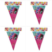 Wholesale Happy Birthday Flags - Poke Banner Trolls Moana Theme Flag Party Decorations Baby Happy Birthday Wedding Event Party Supplies for Kids DHL Free Shipping