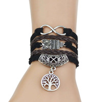 Wholesale Multi Rope Bracelets - Multi-Strands Infinity Silver Color Clover Charm Leather Braid Bracelet Bangle Jewelry For Women and Men