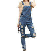 Wholesale Casual Washed Womens Overalls - Wholesale- 2017 Autumn Fashion Women Denim Jumpsuit Hole Rompers Womens Jumpsuit Ripped Pockets Jeans Overalls Washed Girls Playsuit