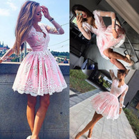 Wholesale Triangle Cupcakes - Charming Pink Cupcake Homecoming Dresses V Neck Long Sleeve With White Appliques Special Occasion Dress Mini Ball Gown Party Gown