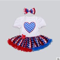 Wholesale Bebe Summer Dresses - 4th of July Newborn Romper Headbands Jumpsuits Bebe Toddler Girl Dresses Lace Jumpsuit Rompers New Born Baby Girls Clothes Infant Clothing