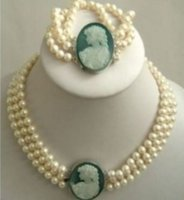 Wholesale Pearls Cameo Necklace - FREE SHIPPING>>3Strand 7-8mm White Akoya Pearl Cameo Necklace Bracelet