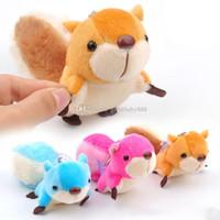 Wholesale halloween keychains - New squirrel backpack Pendant cartoon squirrel plush toys keychains 8cm Stuffed Animals key ring C3225