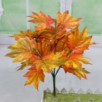 Wholesale Lighted Branches Wholesale - Simulation Plant Home Decor Plastic Foliage Maple Leaves Red Tail Plant Perfect For Garden House Decoration 1*7 Branches Mixed Lot