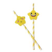 pajitas de papel amarillo al por mayor-Pajitas de papel amarillo biodegradables con cara sonriente para niños lindos