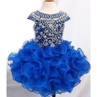 Wholesale Styles Children Photos - Royal Blue Ball Gown Girls Pageant Dresses Organza Puffy Princess Style Cap Sleeve Real Picture Flower Girl Party Gowns For Children