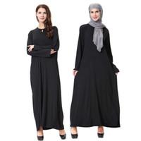 Wholesale East Knitting Black Milk - TH905 2017 New Milk Silk Knit Long Sleeve Dubai Robes Middle East Arab Muslim Robe Women's Black Dress maixi dresses cheap plus size m-xl