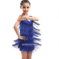Wholesale Cheap Dance Skirts - Girls Latin Dance Costume 2017 Classic Daily Stage Performance Latin Skirt Children Blue Cheap Rumba Fringe Dress
