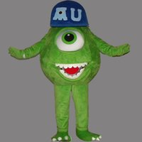 Wholesale Mike Wazowski Mascot Costume - Mike Wazowski Adult Size Mascot Green Monster Costume Fancy Birthday Party Dress Halloween Carnivals Costumes With High Quality