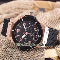 Wholesale Rose Gold Brown Mechanical - Free Gift Box Big Size Mens Watch Japan VK Quartz Chronograph Black Dial Rose Gold Two Tone Folding Buckle Rubber Strap Sprot Watch