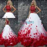 Wholesale Dramatic Short Dress - 2017 Dramatic Red Two pieces evening pageant Sleeveless Ball Gown 3D Flowers Bohemia Beach prom party gowns Gothic Gala Vestido de noiva