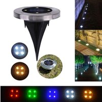 LED Solar Ground Lights 4LEDs de aço inoxidável + ABS Garden Path Lâmpadas de gramado Outdoor Waterproof Lighting Decorações Landscape Yard Park