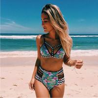Wholesale Wholesale Women S Cut Out - 50Set 2017 New Floral Print High Waist Swimsuit Push Up Bikini Plus Size Swimwear Women Cut Out Bikinis For Women Big Size Beach Wear CK1116