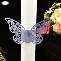 venta al por mayorpcs lser cortado doble hermosa mariposa titular de la servilleta de papel de servilleta para bodas de fiesta cena de