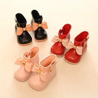 Wholesale Kids Flat Bow Shoes - Toddler Girls Rain Boots Children Shoes Waterproof Girls Boots With Bow Jelly Kids Rainboots Girls Rubber Shoes